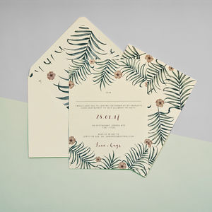 Fern And Flower Invitation Set - invitations