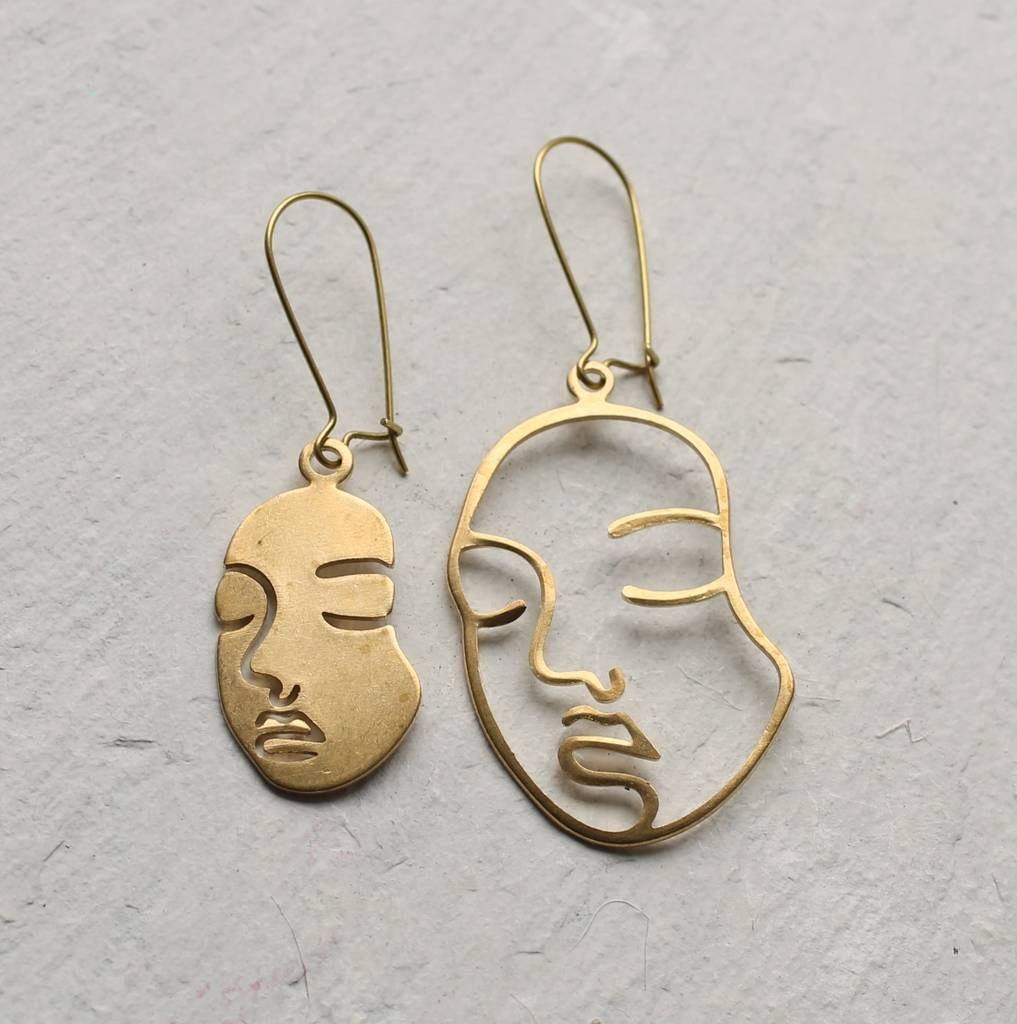 Abstract Face Earrings By Silk Purse Sow S Ear