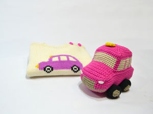London Cab Knitted Toy In Pink And Black - cars & trains