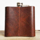 Personalised Initialled Leather Hip Flask