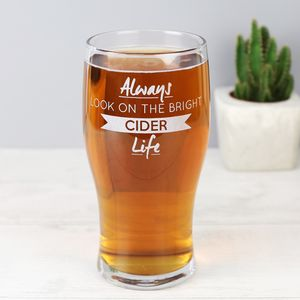 Engraved 'Bright Cider Life' Pint Glass - father's day gifts