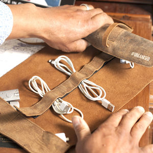 Personalised Leather Cord Organiser - desk accessories