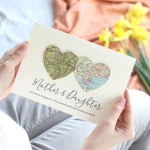 Personalised Map Hearts Mother' Day Card