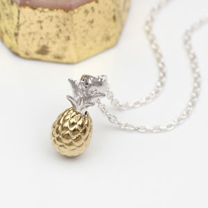 18ct Gold And Sterling Silver Pineapple Necklace