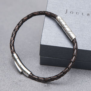 Distressed Mocha Slim Open Scroll Mens Bracelet - bracelets
