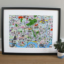East London Illustrated Map Print