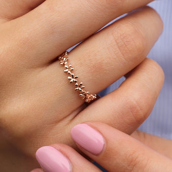 18ct Rose Gold Band Of Flowers Ring