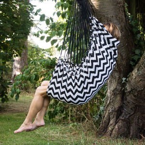 Black And White Print Hammock Seat - garden furniture