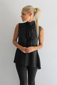 Black High Neck Tie Shirt - tops