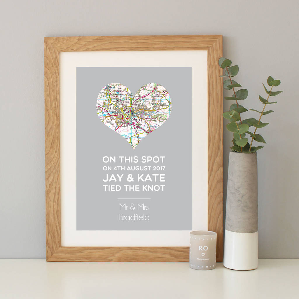 on this spot\' personalised wedding gift map print by hope and love ...