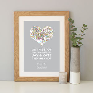 'On This Spot' Personalised Wedding Gift Map Print - dates & special occasions