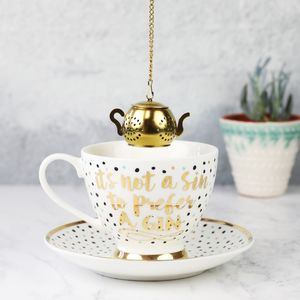 Polka Dot Tea Cup And Infuser Set - cups & saucers