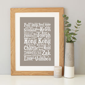 Personalised Word Art Print - typography