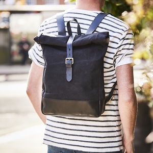 Canvas And Leather Rolltop Backpack - backpacks