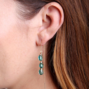 Apatite Quartz Ear Threads - earrings