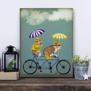 English Bulldogs On Tandem Print - posters & prints