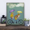 English Bulldogs On Tandem Print
