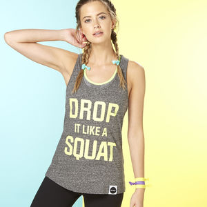 Drop It Like A Squat Racer Back Vest, Grey And Yellow - tops & t-shirts