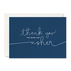 Navy 'Thank You For Being Our Usher' Card