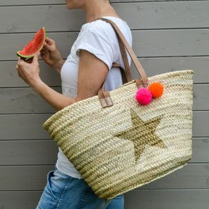 Star Straw Basket With Pom Poms