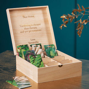 Personalised Gardeners' Veg Seed Storage Box - personalised gifts for grandparents