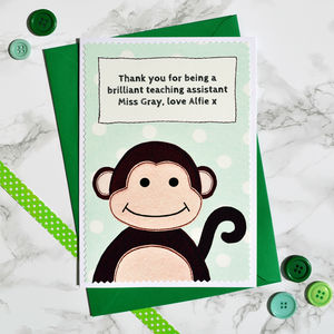 'Monkey' Thank You Teacher Card