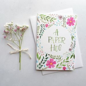 'A Paper Hug' Hand Lettered A6 Greeting Card - sympathy & sorry cards