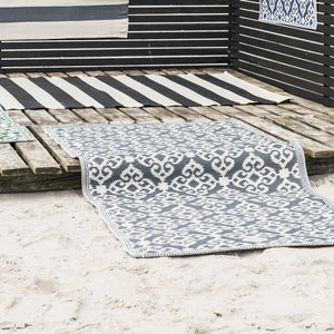 Grey And White Patterned Recycled Outdoor Rug - rugs & doormats