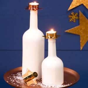 Ceramic Bottle Holder With Christmas Candles - dining room