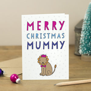 Merry Christmas Personalised Lion Card