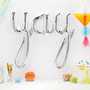 Yay Script Balloon | Silver Or Gold - room decorations