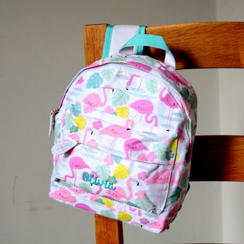 Personalised Tropical Flamingo Backpack