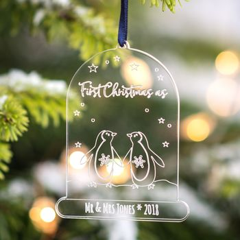 Personalised First Married Christmas Cloche Decoration