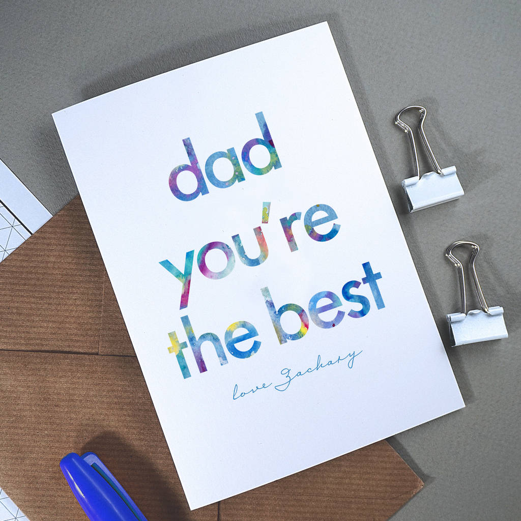 daddy you're the best | personalised fathers day card by rich little
