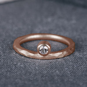 9ct Rose Gold Offset Engagement Ring With Diamond