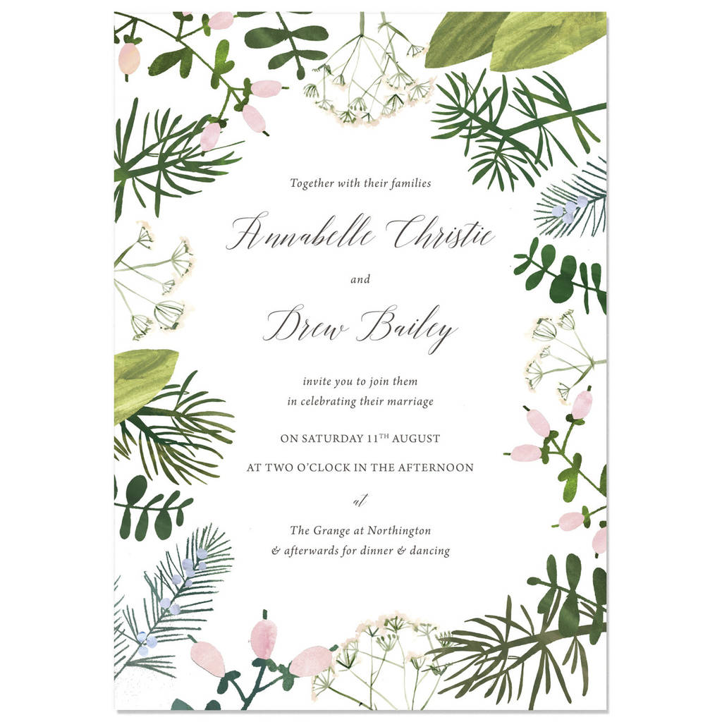 Samples Of Wedding Invites: Spring Botanics Wedding Invite Sample By Hollyhock Lane