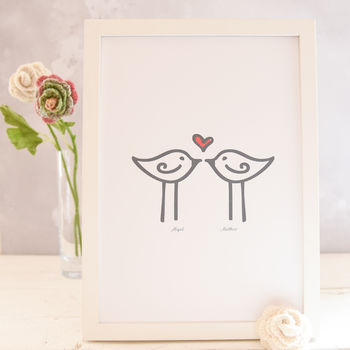 Personalised Love Birds A4 Print