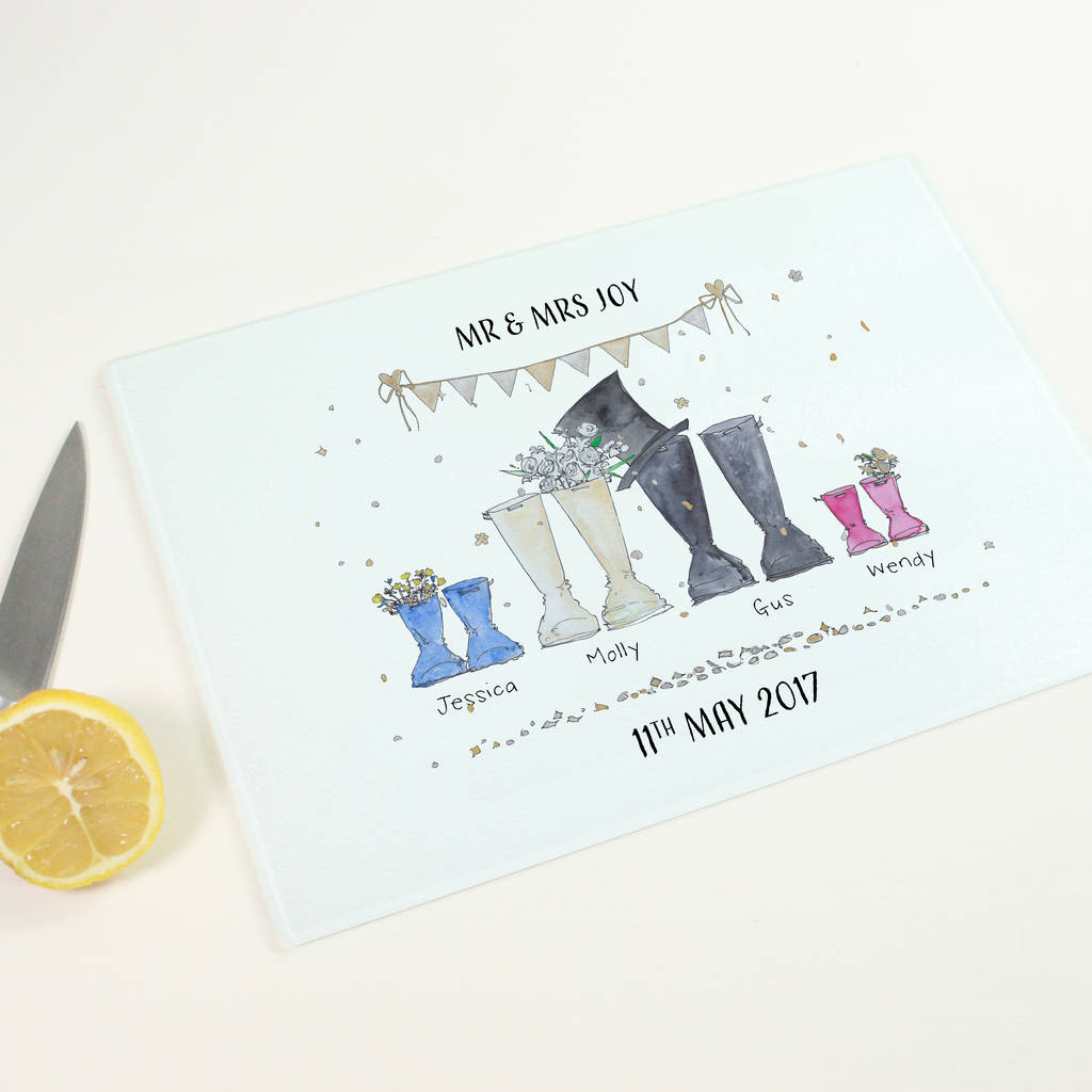 Personalised Wedding Welly Boot Chopping Board