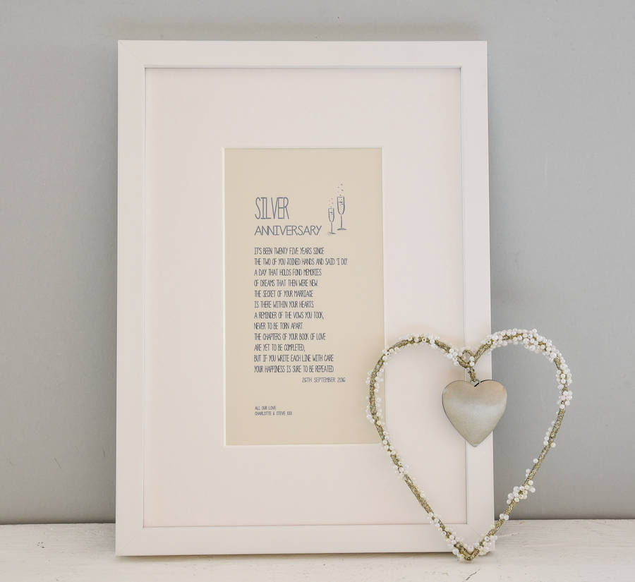 Personalised Silver Wedding Anniversary Framed A4 Print