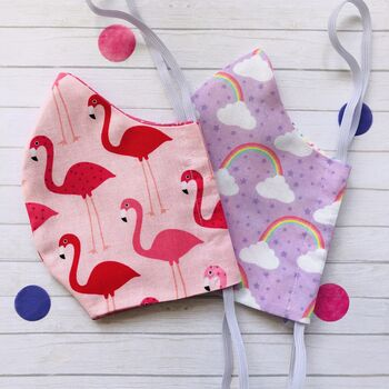 Set Of Two Handmade Flamingo And Rainbow Face Masks