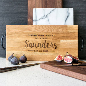 Personalised Large Wooden Cheese / Cutting Board - 5th anniversary: wood