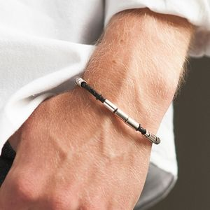 Personalised Men's Leather Morse Code Bracelet - bracelets