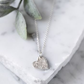 Silver Engraved Fingerprint Stamp Charm Necklace