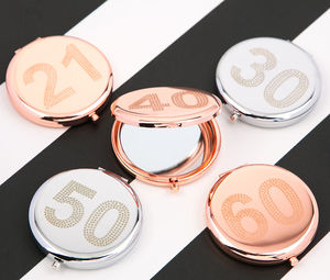 Birthday Compact Mirror In Rose Gold And Silver