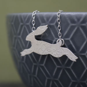 Sterling Silver Watercolour Baby Hare Necklace