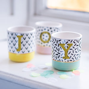 Set Of Three Personalised Modern Memphis Style Planters - shot glasses