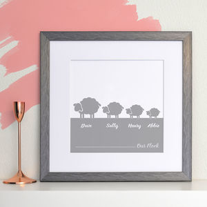 Personalised Flock Of Sheep Family Print - new in prints & art