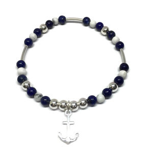 Nautical Themed Bracelet With Silver Anchor Charm