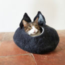 Cat Cave with ears in Black