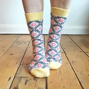 Pink Cashmere Snowflake Socks By Lowie - women's fashion
